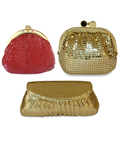Three bags made from scale mesh curtain, and their color is red and golden.