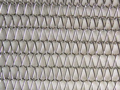 A piece of wire mesh belt with bend rod in silver color on the white background.