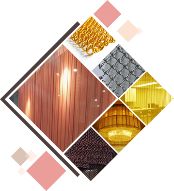 A puzzle of six pictures is showing the details and application about metal coil and honeycomb decorative mesh.