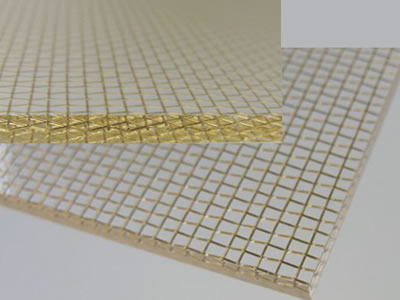 There are two pieces of wired glass laminated with woven wire mesh, showing the facet of wired glass.