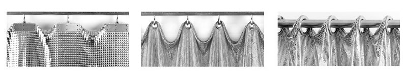 A picture of three scale mesh curtain installation schematic, they are track installation, stainless steel rod with bead rings and stainless steel rod installation with rings.