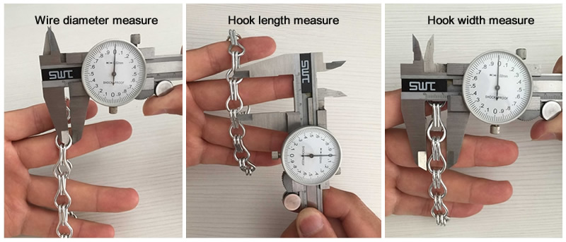 Three measurement chain link screen pictures, they are wire diameter measure, hook length measure, hook width measure, and the background is a wooden desk.