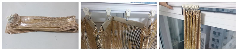 A picture of three scale mesh curtain in track installation can clearly show the detail of track installation.