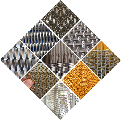 A puzzle of nine pictures is showing the details and application about woven wire drapery, cable wire mesh and belt mesh.